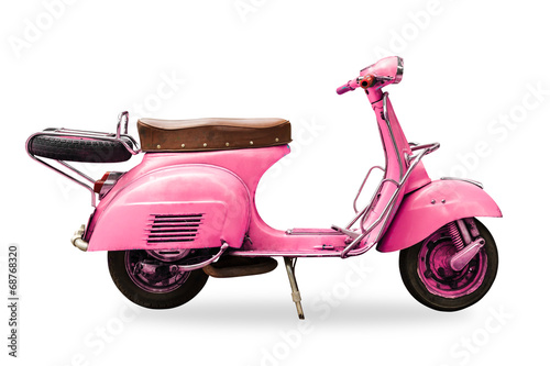 Montage in der Fensternische Scooter old vintage motorcycle isolated with clipping path