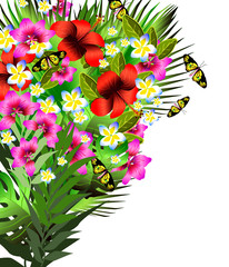 Color tropical flowers and leaves background