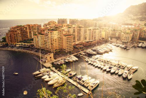 Panoramic view of Monte Carlo harbour in Monaco. Azur coast.