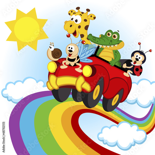 Staande foto Cartoon cars animals traveling by car over the rainbow - vector, eps