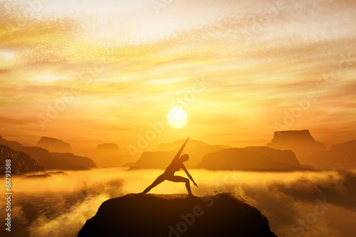 Tela  Woman standing in yoga position, meditating in mountains