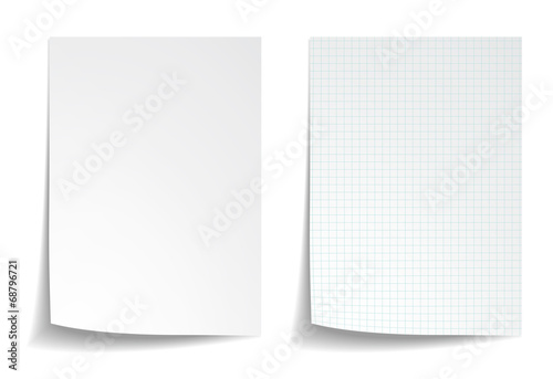Fotomural White squared notebook paper on white background