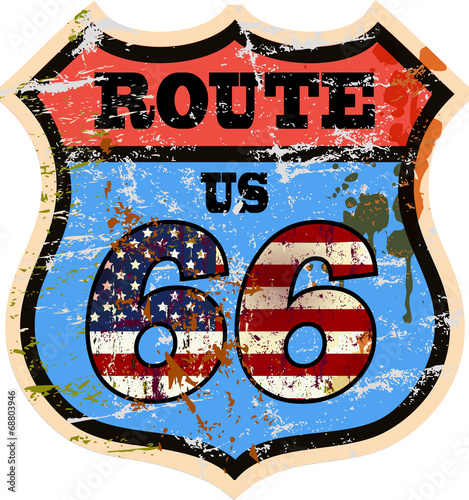 vintage route 66 road sign, grungy style style, vector illustrat