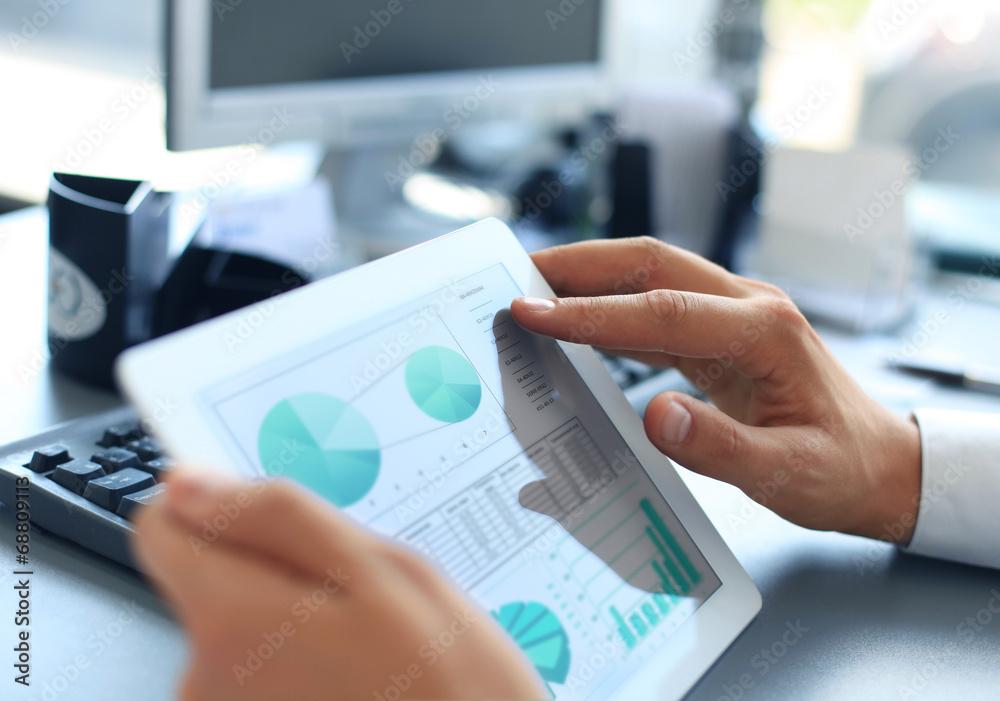 Fototapeta Business person analyzing financial statistics