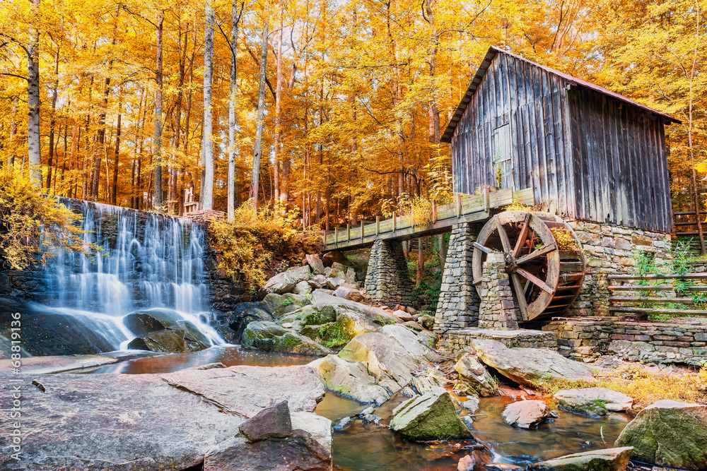 Fototapety, obrazy: Fall or Autumn image of historic mill and waterfall in Marietta,
