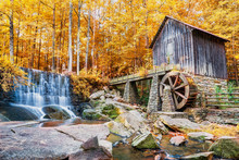 Fall Or Autumn Image Of Historic Mill And Waterfall In Marietta,
