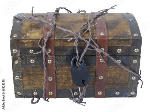 Fotografie, Obraz  Traveling Trunk with Barbed Wire and Padlock