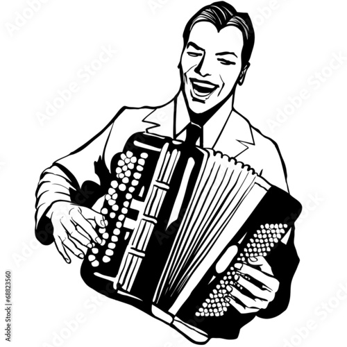 Accordion player Fototapet