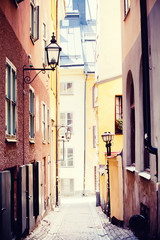 Panel Szklany Uliczki Old street in Stockholm
