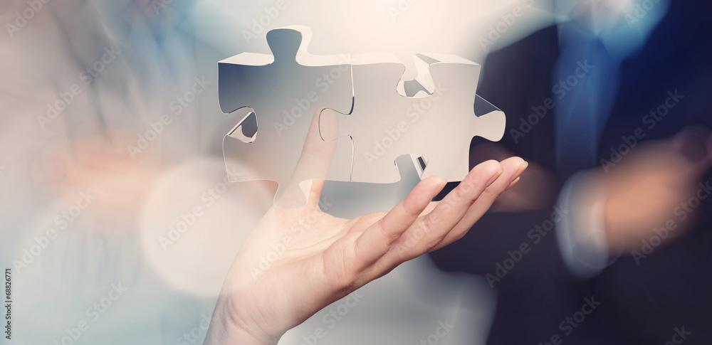 Fototapeta businessman hand showing partnership sign as concept