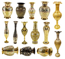 Big Collection Of Indian Vases Isolated