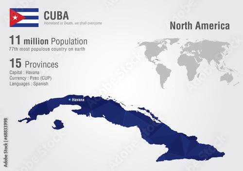 Cuba world map with a pixel diamond texture. – kaufen Sie ...