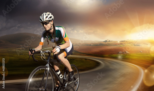 Motion road cyclist