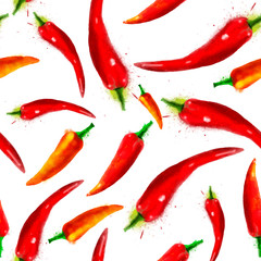 Panel Szklany Podświetlane Warzywa Pepper seamless pattern, summer composition of red chili papper