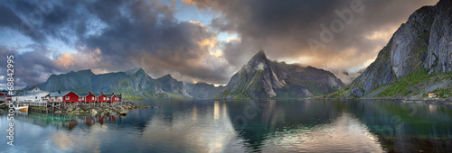 Lofoten Islands Panorama. Canvas Print