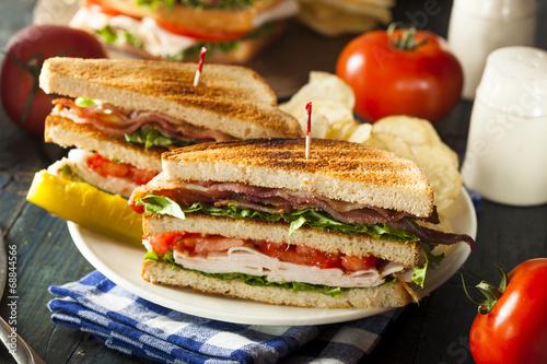 Staande foto Snack Turkey and Bacon Club Sandwich