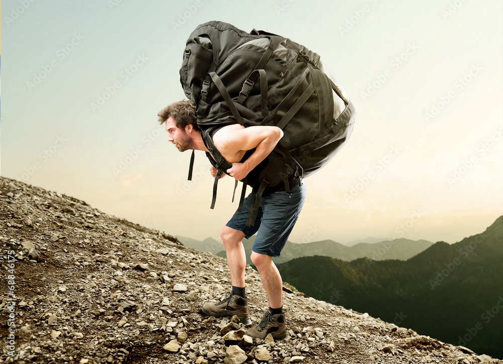 Fototapety, obrazy: Heavy Backpack