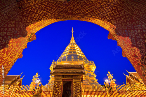 Garden Poster Temple Wat Phra That Doi Suthep in Chiangmai province of Thailand