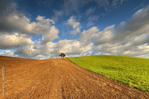 Fototapeta Krajobraz wiejski, po żniwach obraz
