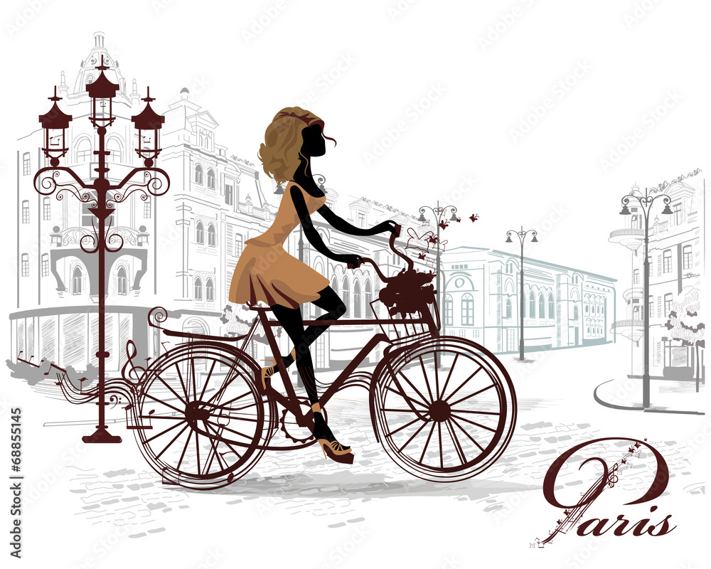 Fototapeta Fashion girl rides a bicycle, decorated with a musical stave