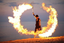 Awesome Fire Show On The Beach...