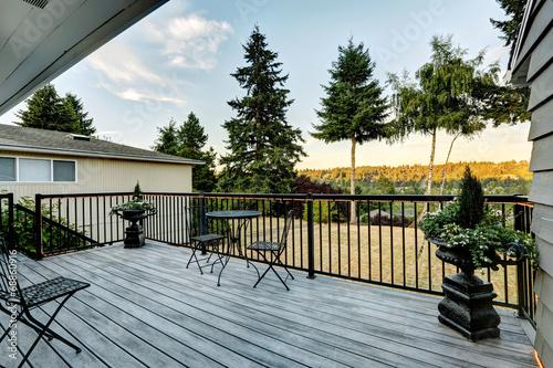 Fototapeta Walkout deck overlooking backyard area obraz na płótnie