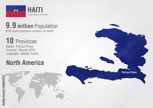 Photo Haiti world map with a pixel diamond texture.