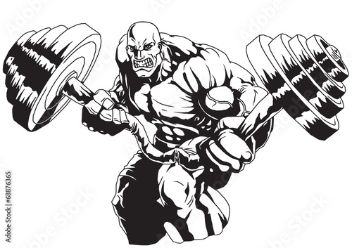 Bodybuilder Flex heavy barbell Plakat