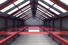 Red Steel Industrial Building Indoor Perspective View