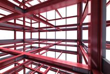Red Steel Framework Building Indoor Perspective View Rendering