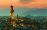 Florence, palazzo Vecchio on a sunset - 68898953