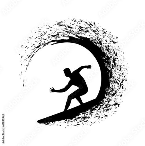 silhouette of the surfer on an ocean wave in style grunge #68899948