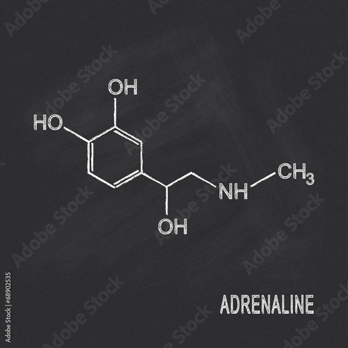 Chemical formula of adrenaline chalked on blackboard Wallpaper Mural