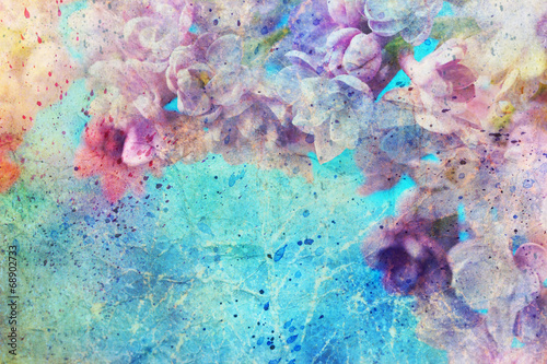 watercolor splatter and beautiful lilac flowers