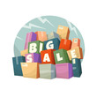 Heap of boxes with Big Sale text. Vector illustration.