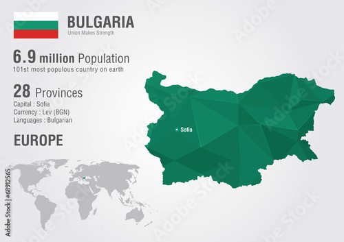 Photo Bulgaria world map with a pixel diamond texture.