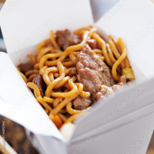 beef lo mein in take out box Canvas Print