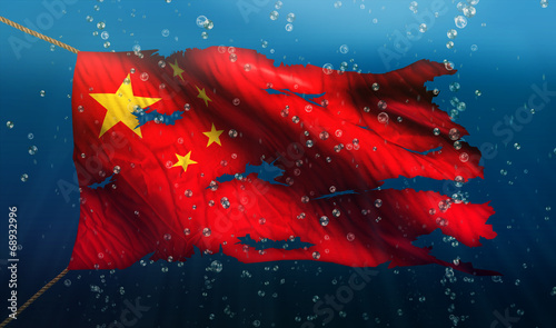Photo China Under Water Sea Flag National Torn Bubble 3D