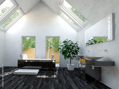 Modernes Badezimmer Mit Luxus Badewanne Und Dachschräge