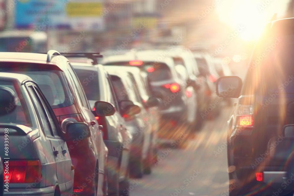 Fototapeta traffic jams in the city, road, rush hour