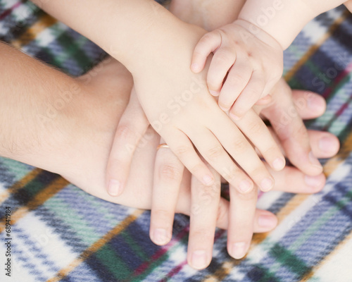 Baby Child Mother Father Hands Family Concept Buy This Stock