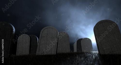 Graveyard Tombstones At Night Fototapet