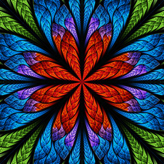 Symmetrical pattern in stained-glass window style. Green, blue a