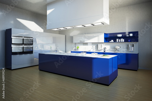 Kucheninsel In Moderner Kuche In Blau Buy This Stock Photo And