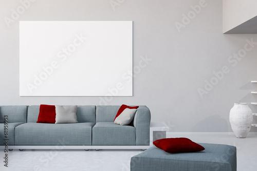 Weiße Leinwand an Wand im Wohnzimmer – kaufen Sie dieses Foto und ...