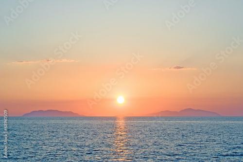 Romantic sunset over eolian islands Sicily Italy