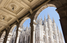 Duomo Of Milan,Italy.Cathedral.Looking Up From Arcade