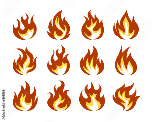 Fotografie, Tablou  Vector Fire Flame Icon Set in Flat Style