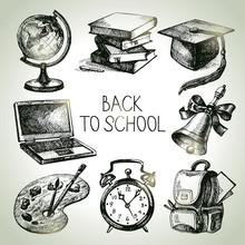 Hand Drawn Vector School Object Set. Back To School Illustration