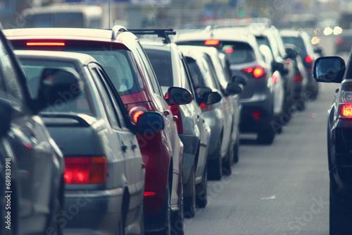 Obraz traffic jams in the city, road, rush hour - fototapety do salonu